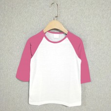 Kids Baseball Middle Sleeves T-shirt (choose a color for the sleeves & rib neck)