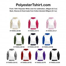 Hoodie Sublimation Dual color Poly front and Cotton Blended Choose Your Color