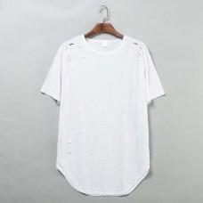 Hip hop cut holes long t-shirt, Short sleeves