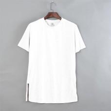 Men's long T-shirt with one side trim zipper