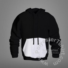 Black Hoodie with White Pocket for Sublimation