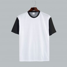 B&W Cotton-Feel Polyester Short Sleeves T-shirt Front White color. other parts black