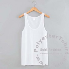 Cotton-Feel Polyester Gym Tank Top, deep front neck drop - Special Flat Stitching for Sublimation Printing